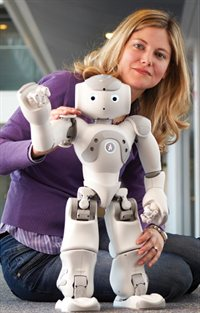 Dr Ginevra Castellano with a Nao robot