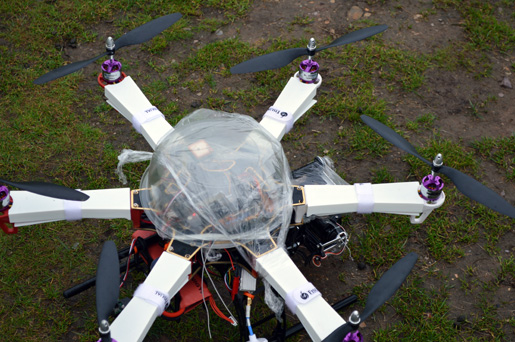 The EECE hexacopter, seen in close-up.