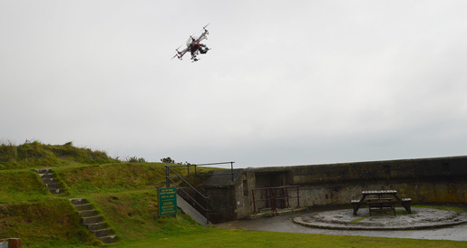 The EECE hexacopter in flight over Whitsand Bay