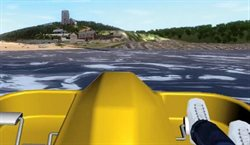 View of virtual Wembury from a virtual pedalo, a 3D modelled coastal village