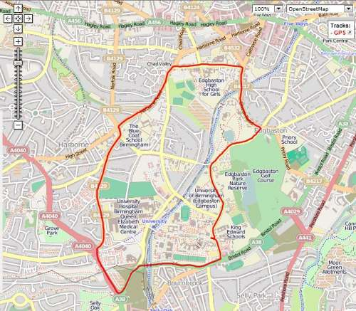 Figure 1: Anticlockwise route from university campus through Edgbaston, Harborne and Selly Oak