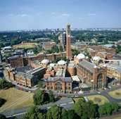 Aerial view of the University of Birmingham