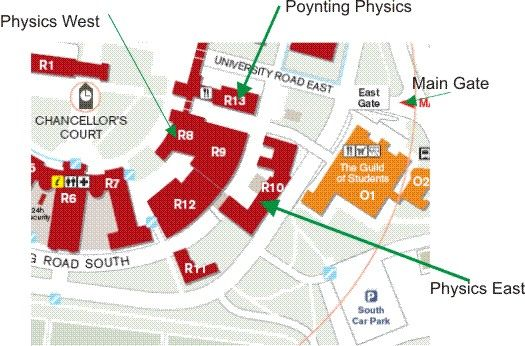 Campus location map for the School of Physics and Astronomy