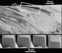 SEM image of a RCF crack in a (sectioned) rail contact test disc and three images showing sideways, focussed ion beam milling of the outlined rectangular block, to determine the crack shape in 3-dimensions.