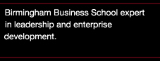 Birmingham Business School expert in leadership and enterprise development
