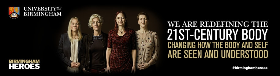 Heroes campaign banner for 21st century bodies, featuring: Dr Victoria Goodyear, Professor Heather Widdows, Professor Alice Roberts, and Professor Muireann Quigley.
