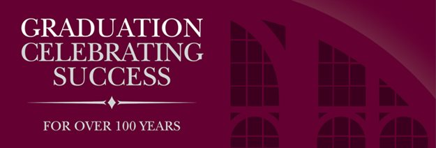 A banner image displaying the branded graduation logo and aston webb window