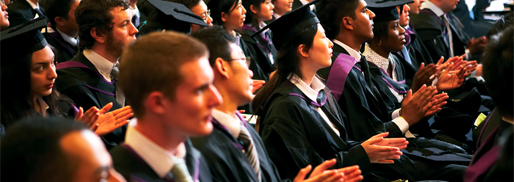 Graduands clapping during their degree ceremony