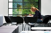 Student studying alone in Sportex