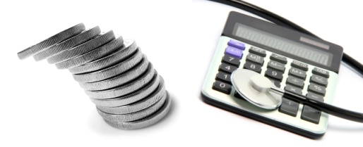 A pile of coins, a stethoscope, and a calculator.