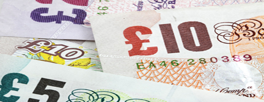 A banner image showing overlapping pound notes