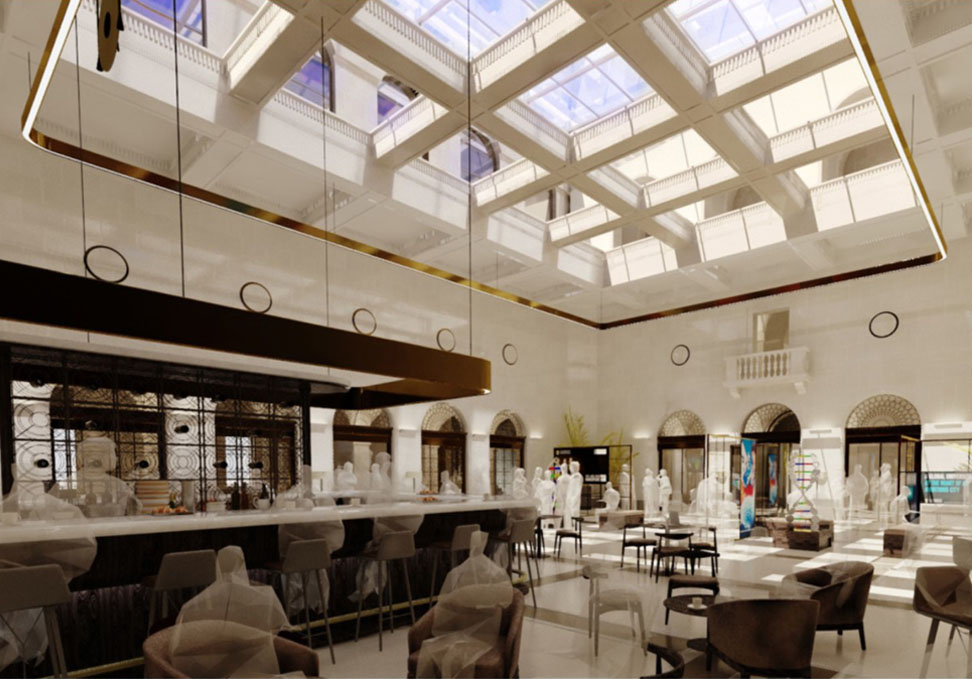 Artist impression of the main ground floor in The Exchange building.