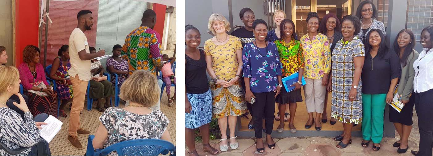Photo 4:Members of the UK team and local support workers during a focus group discussion with market traders Photo 5:Prof Fiona Carmichael and Prof Jo Duberley with women activists at ABANTU for Development, Ghana. .