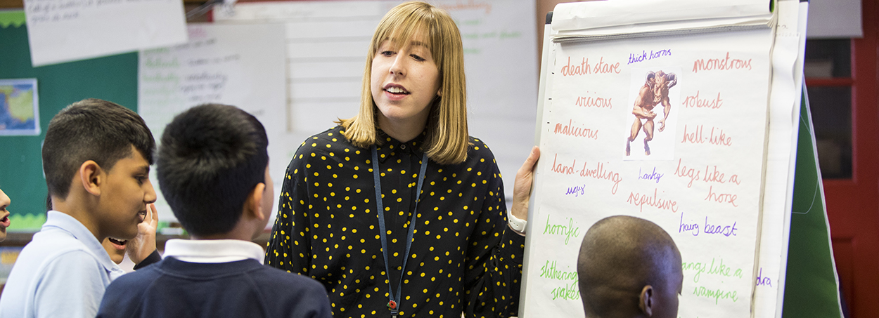 Caitlin Robinson at work in a classroom