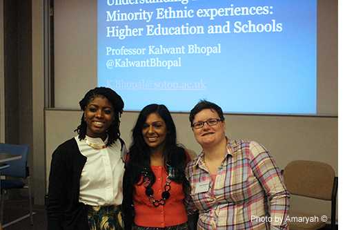 April-Louise, Professor Kalwant Bhopal and Holly (co-chairs of the conference organising committee and Keynote speaker)