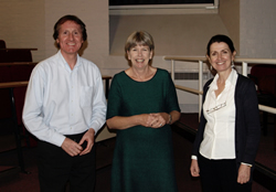 L-R: Dr Neil Hall, Jean Gross and Dr Deirdre Martin