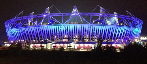 London Olympic Stadium at night