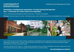 Developing a compassionate organisation: An Action Learning Set Approach - 5 December 2013