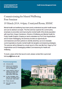 Commissioning for mental wellbeing