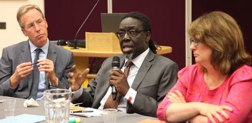 David Behan, Lord Victor Adebowale and Jacqui Smith, panel members at the HSMC Health Policy Lecture 2014 (Michele Paduano not pictured)