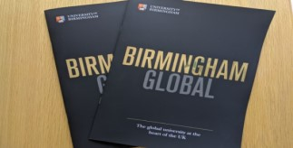 Two Birmingham Global brochures fanned out on a table