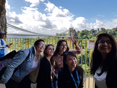 Students at the Clifton Suspension Bridge in Bristol