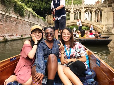 Students on a punting tour in Cambridge