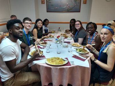Students eating lunch in a Chinese restaurant