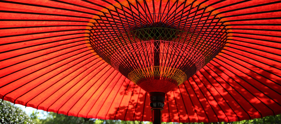 A red Chinese parasol