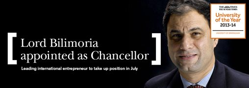 Lord Bilimoria appointed as Chancellor