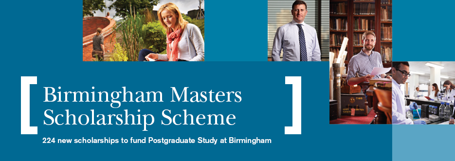 224 new £10,000 scholarships for Masters study at the University of Birmingham