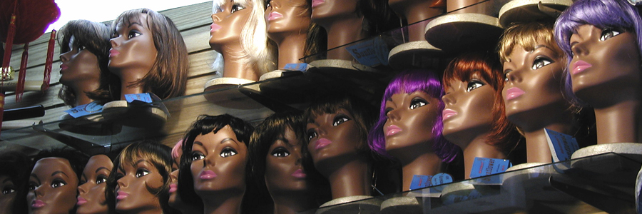 Wigs on shelves