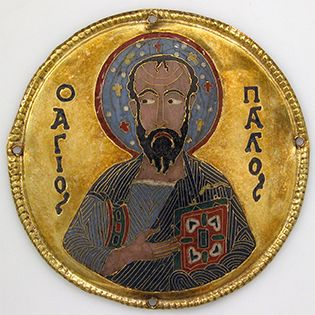 St Paul depicted on a twelfth-century Byzantine plaque made of gold and enamel, The Met
