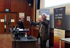 Professor delivering Haworth Lecture at the University of Birmingham's School of Chemistry