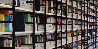 Close-up of bookshelves