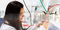 Close-up of female researcher in lab