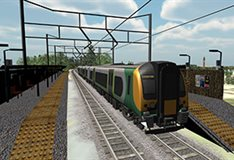CGI rendering of a train at a train station