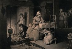 woman with her children, two boys standing by the open fire