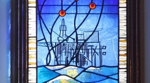stained glass window of Piper Alpha