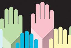 Sketch of multi coloured raised hands