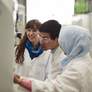 postgraduate students in the lab