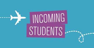 Graphic of a plane and the title 'Incoming Students'
