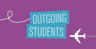Graphic of a plane and the title 'Outgoing Students'