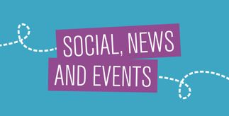 Graphic of a plane and the title 'Social, News and Events'