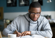 A student studying as part of their degree apprenticeship course.