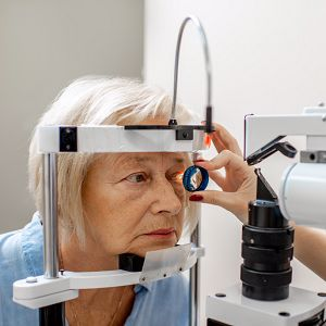 Older woman having eye examination
