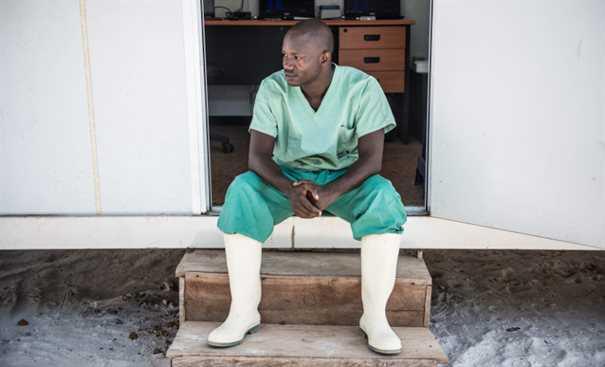 Doctor sat on doorstep