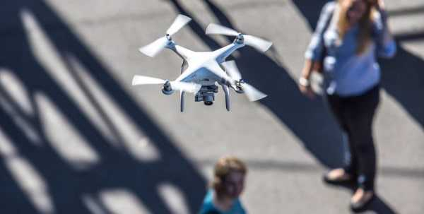 Drone above a crowd