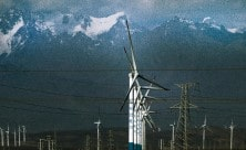 Wind turbines in a mountainous region of China