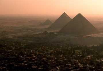 Aerial shot of pyramids